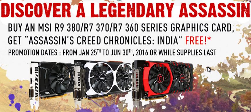 Assassin's Creed Chronicles: India za darmo dla posiadaczy Radeona R9 380, R7 370 oraz R7 360 tym razem od MSI