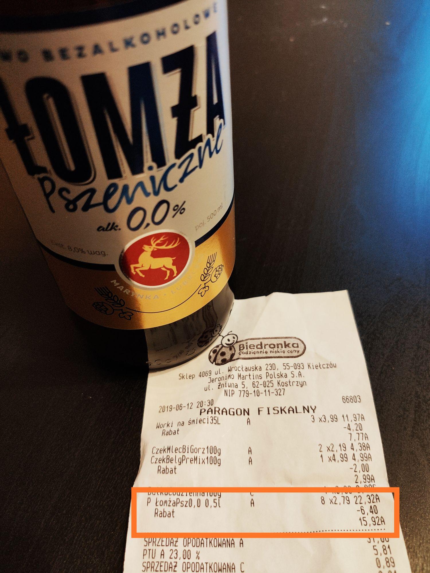 Piwo Łomża Pszeniczne 0.0% Biedronka Kiełczów