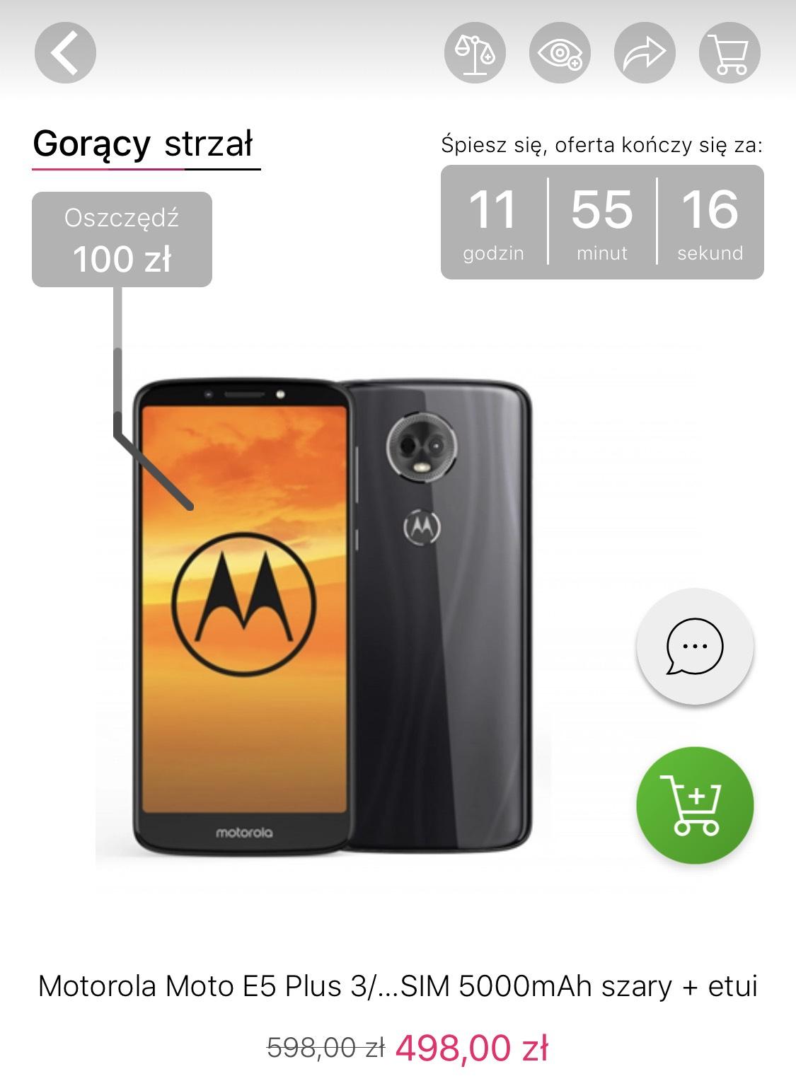 Motorola Moto E5 Plus 3/32GB Dual SIM 5000mAh szary + etui na x-kom