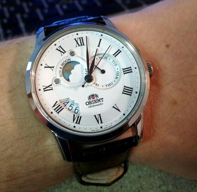 Zegarek automatyczny Orient FET0T002S0 ET0T002S sun and moon Szafir