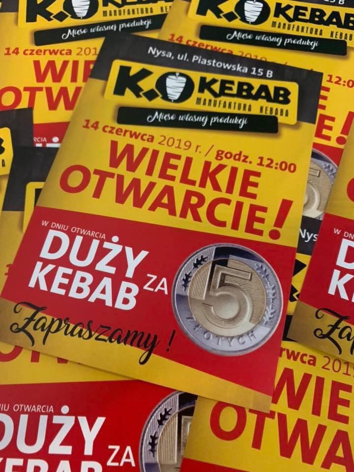 Duży kebab za 5zł na otwarcie K.O Kebab (Nysa)