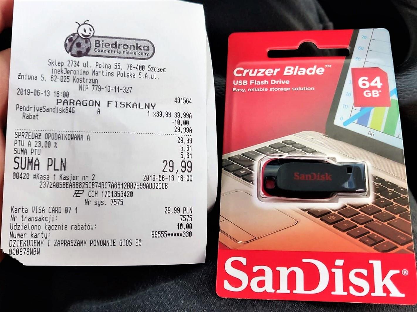[Biedronka] SanDisk Cruzer Blade - 64GB Pendrive USB 2.0 - Polecany do PlayStation Classic
