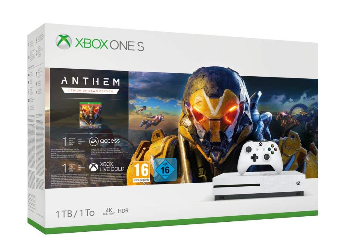 Pakiet Xbox One S 1 TB Anthem + 1 miesiąc EA Access + 1 miesiąc Xbox Live Gold + 1 miesiąc Game Pass. Amazon.fr