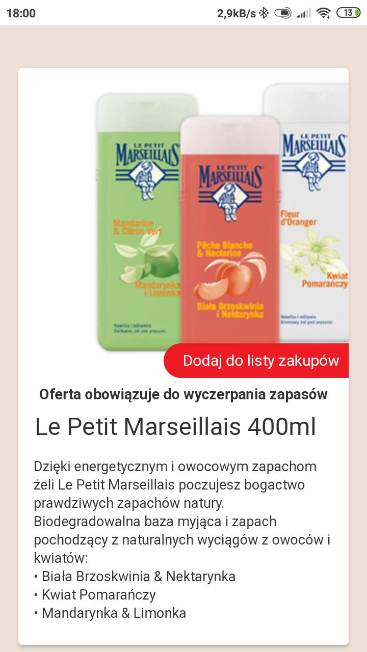 Żel pod prysznic  Le Petit Marseillais 400 ml Biedronka