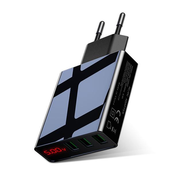 Ładowarka ROCK 3 porty USB z wyświetlaczem, max 3A