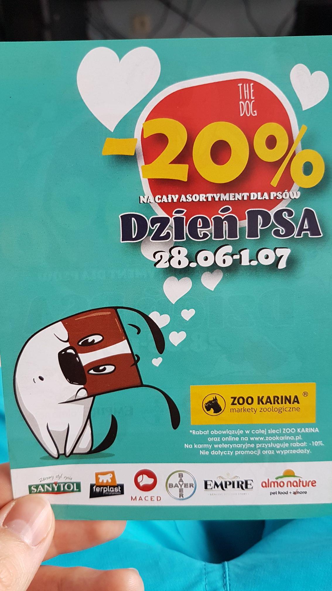 -20% na artykuły dla psów od 28.06 do 1.07 @ Zoo Karina