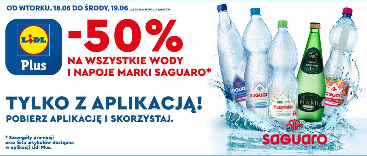 -50% Na WSZYSTKIE wody i napoje marki SAGUARO MAX 12szt. @ Lidl