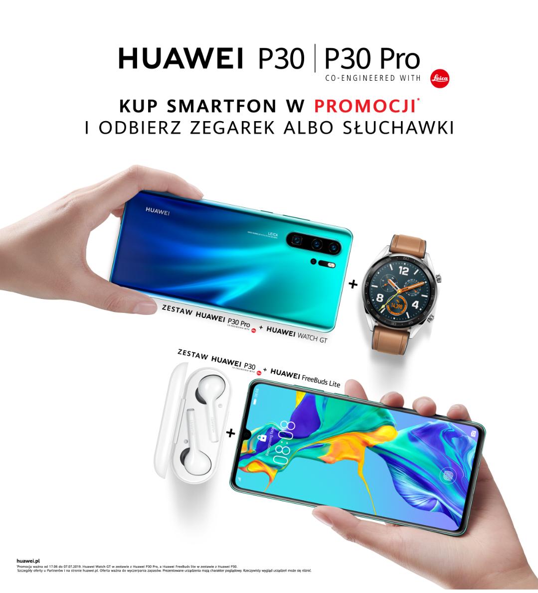 Huawei Watch GT lub Huawei Freebuds lite za darmo przy zakupie Huawei z serii P30