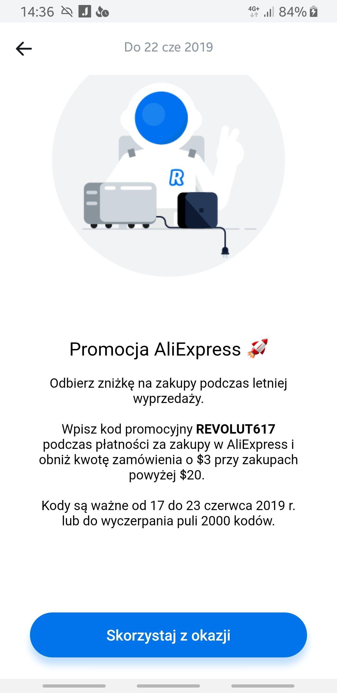 Aliexpress kupon $3. MWZ $20. Płatność Revolutem