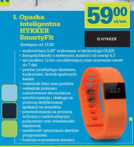 Opaska SmartyFit Hykker (krokomierz, pomiar dystansu, spalanie kalorii) @ Biedronka