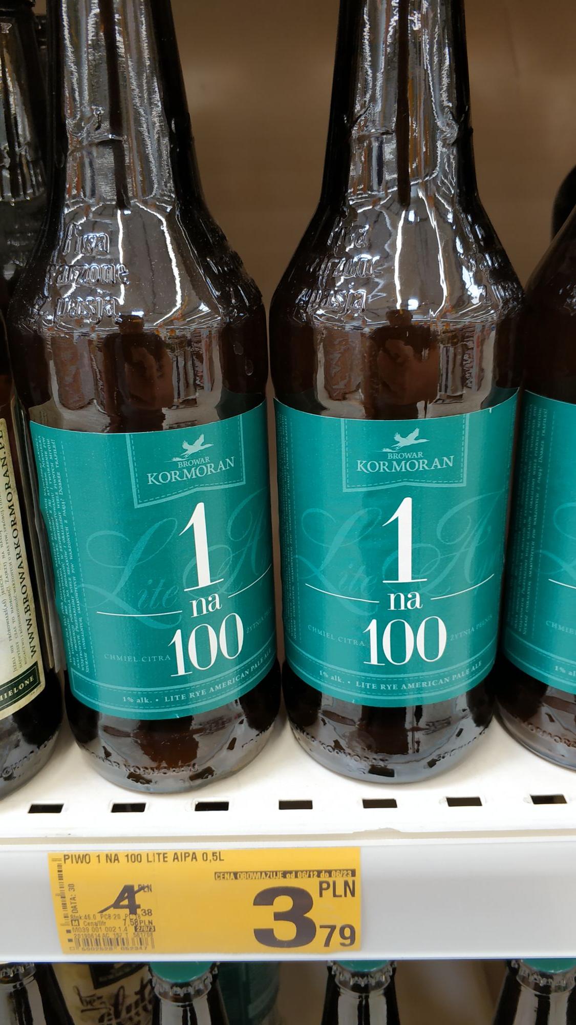Piwo 1 na 100 Lite APA Kormoran 500ml - Auchan.