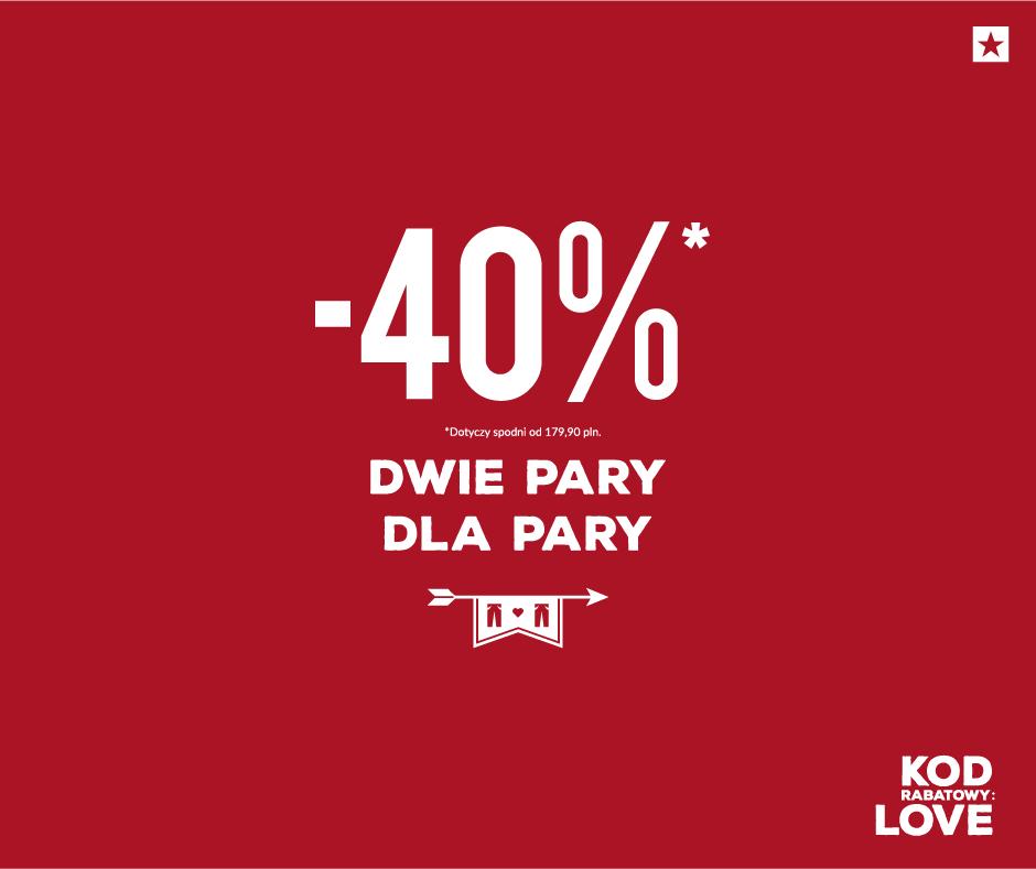 Kupując dwie pary spodni otrzymasz rabat 40% @ BIG STAR