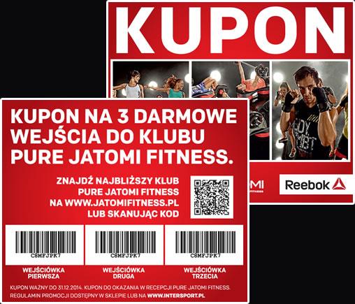 3 wejścia do klubu fitness Pure Jatomi oraz trening na DVD do dowolnego produktu marki Reebok GRATIS @ Intersport