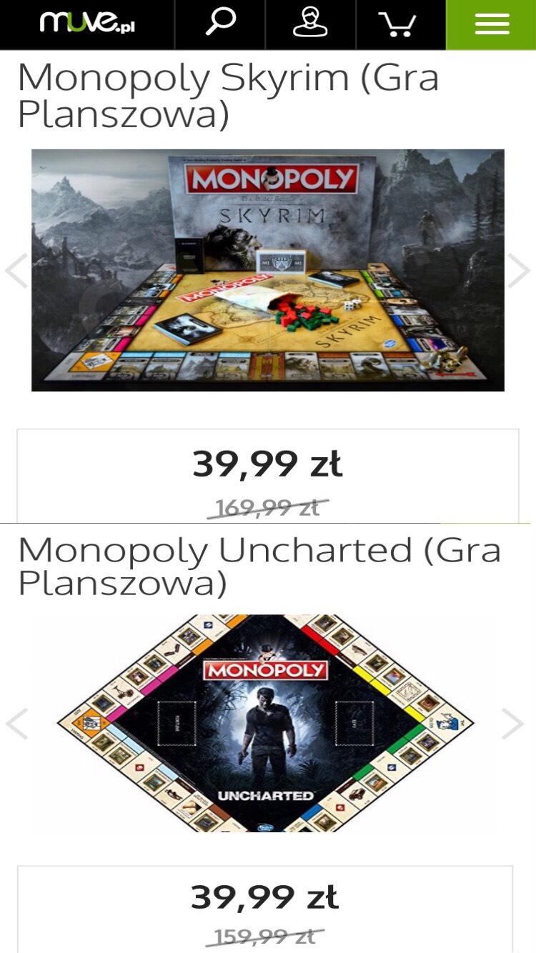 Monopoly Skyrim i Uncharted za 39,99 na muve.pl