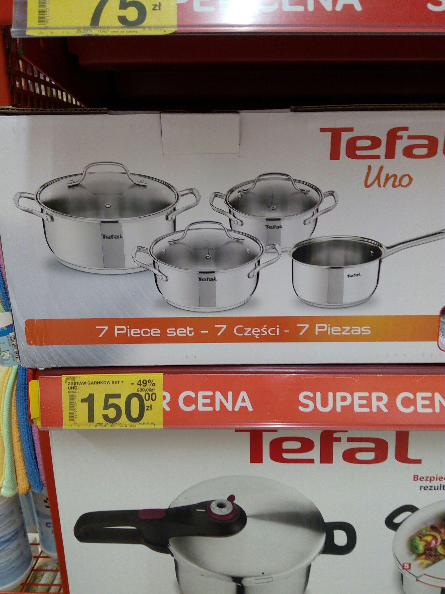 Tefal Uno czestaw 7 części (4 garnki + 3 pokrywki) Carrefour Puławy