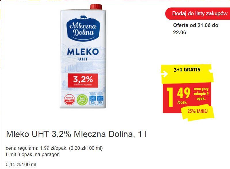 Mleko UHT 3,2% Mleczna Dolina, 1 l 3+1 GRATIS @ Biedronka