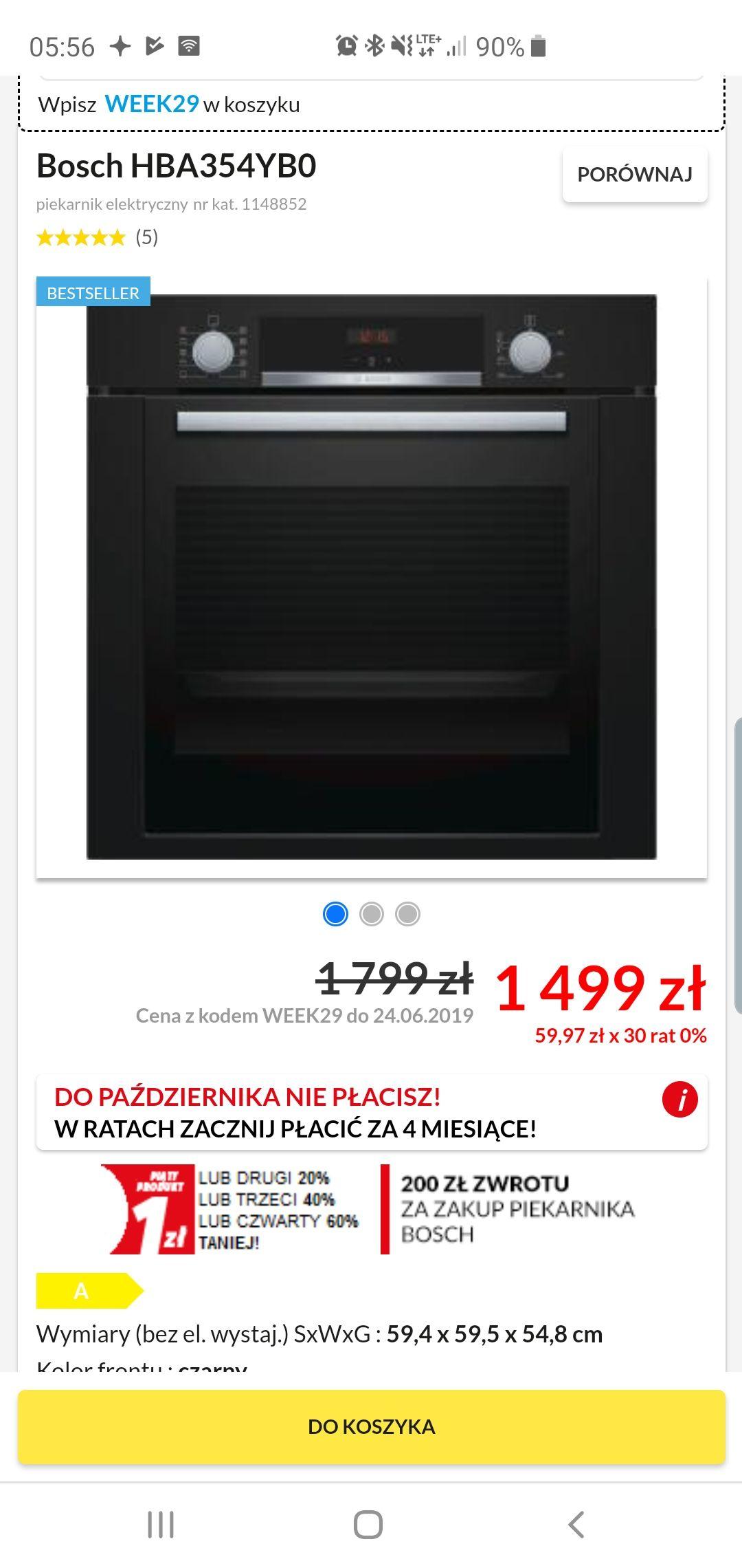 Piekarnik Bosch HBA354YB0 możliwy cashback 200zł - 1299.