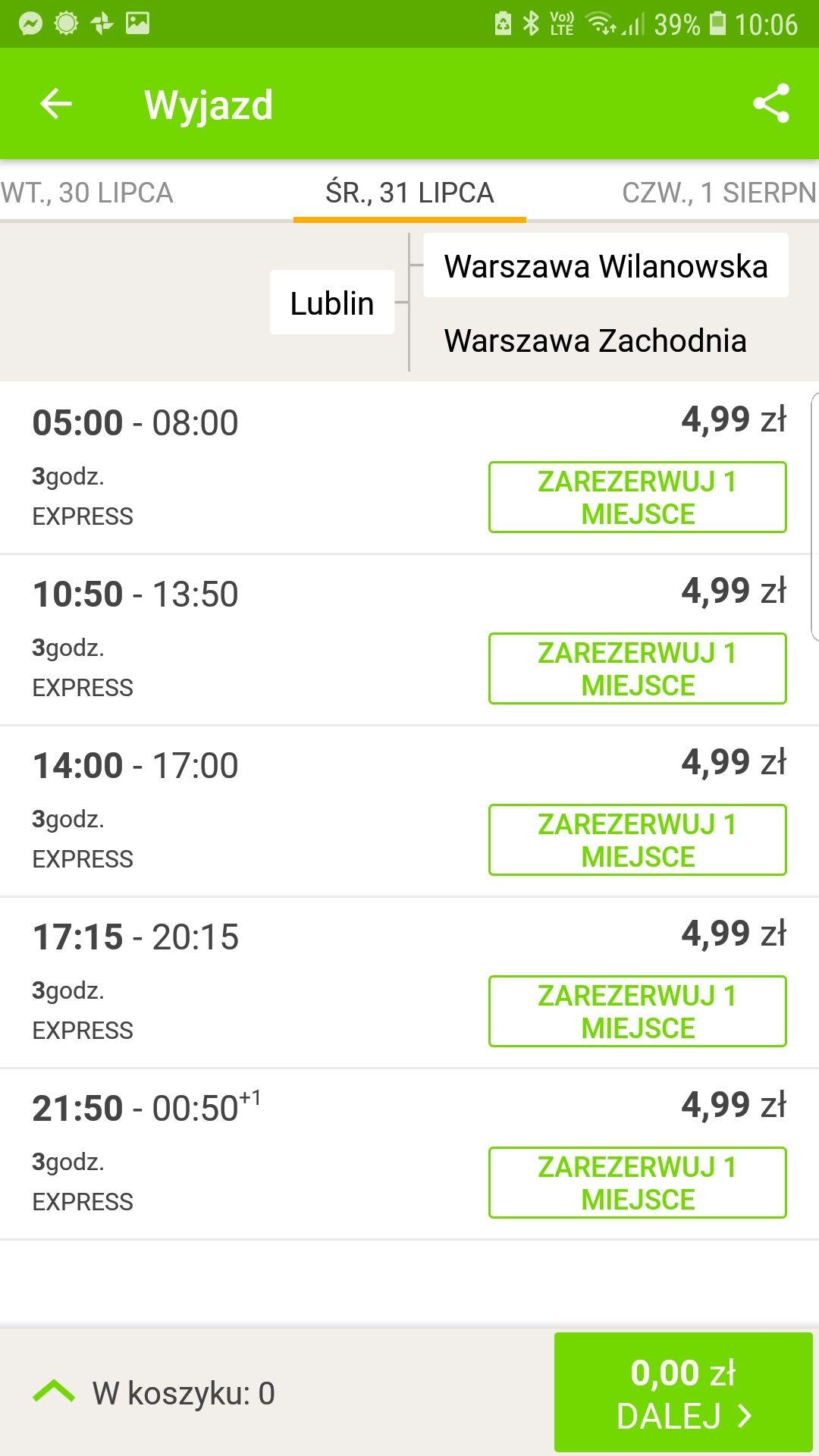 FlixBus:  Lublin --> Warszawa Wilanowska za 4,99 zł. (30-31.07)