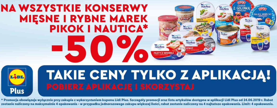 -50 % na konserwy mięsne i rybne Pikok i Nautica w Lidlu.