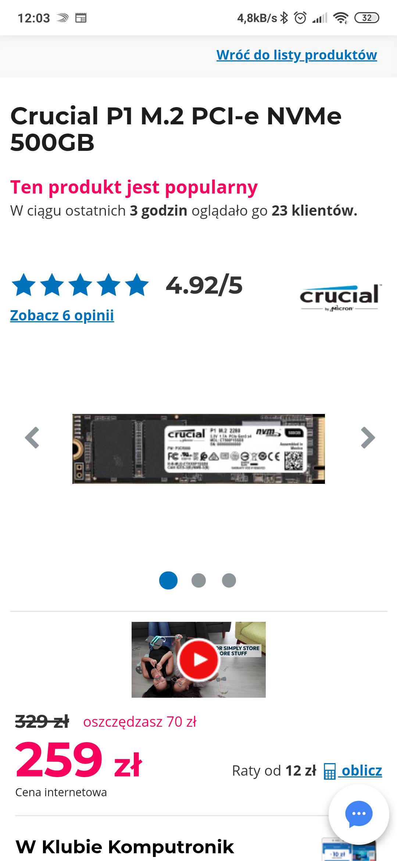 Dysk Crucial P1 500GB PCIe M.2 NVMe ponownie dostępny (Komputronik)