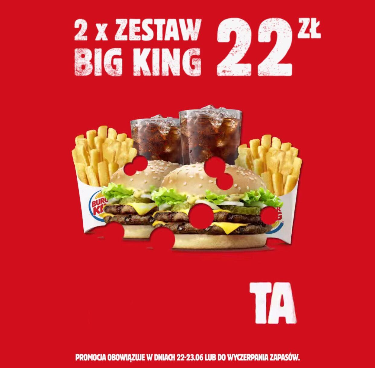 2x Zestaw Big King za 22 zł z okazji dnia ojca BURGER KING