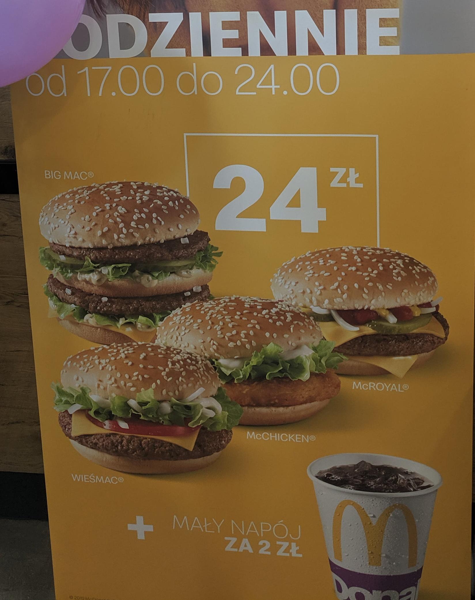 Big Mac, Wieśmac, McChicken i McRoyal za 24 zł + 2 zł mały napój