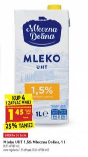 Mleko UHT 1,5% Biedronka