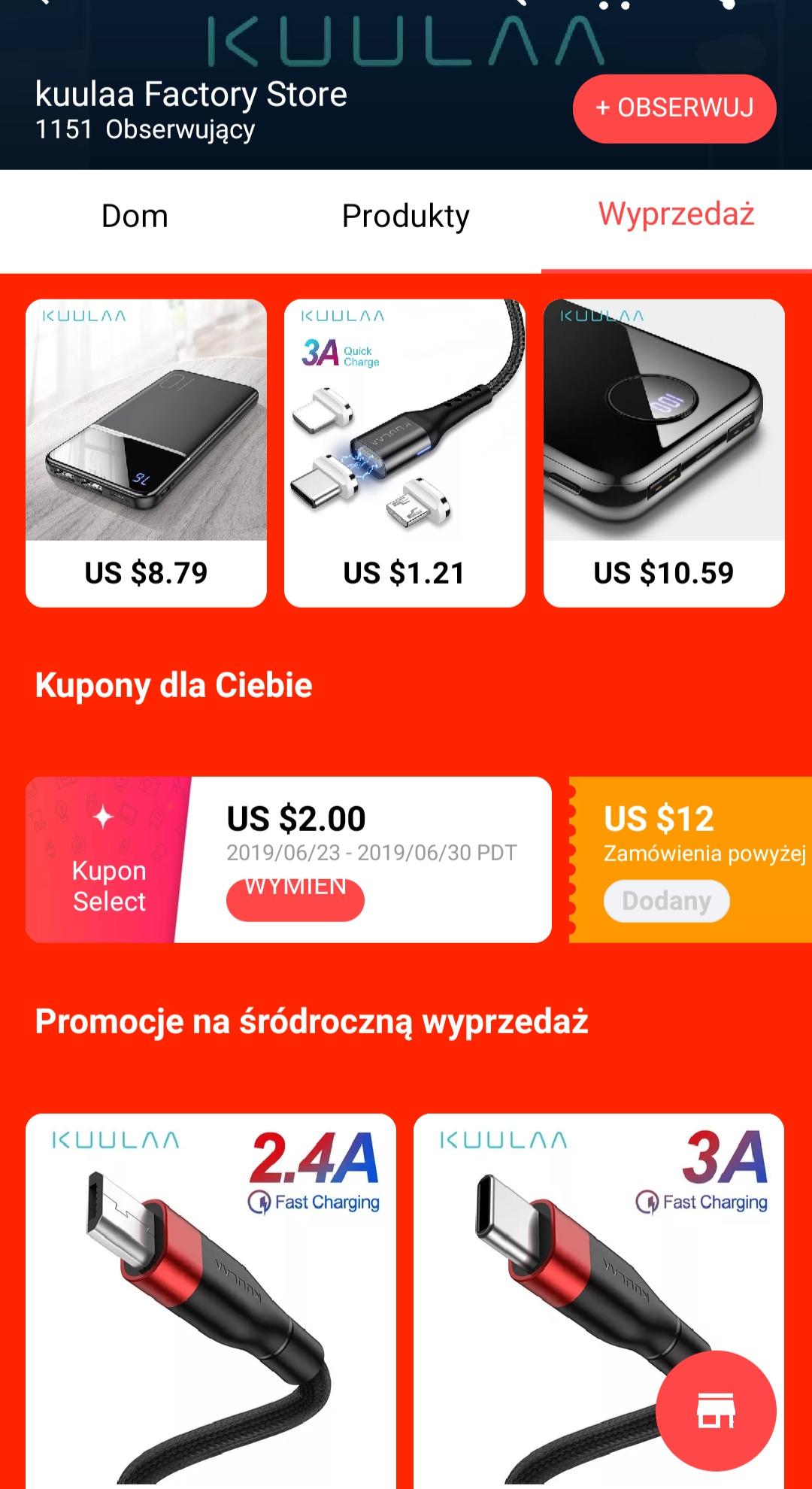 Ładowarka QC3 7,26 zł Powerbank 10000 mAH 27,8zl 2xkabel USB-C 2m za 6,5 zł sklep Kuulaa kupony