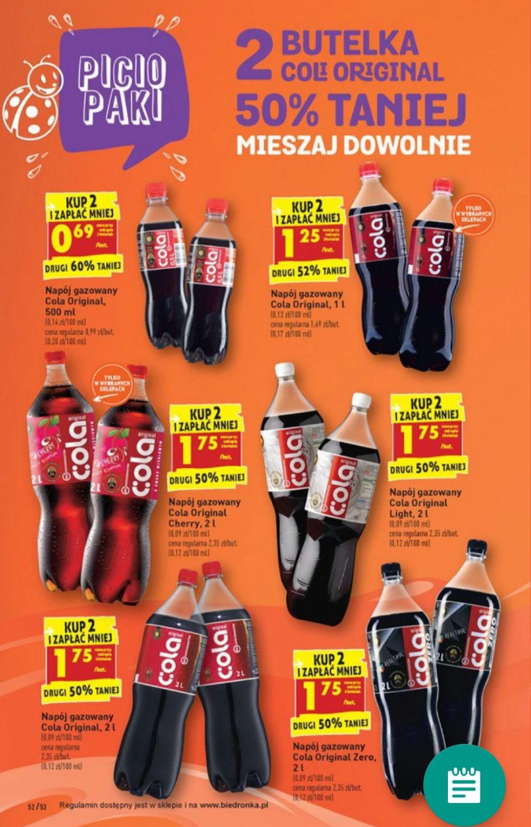 Druga butelka Cola Original 50% taniej - Biedronka