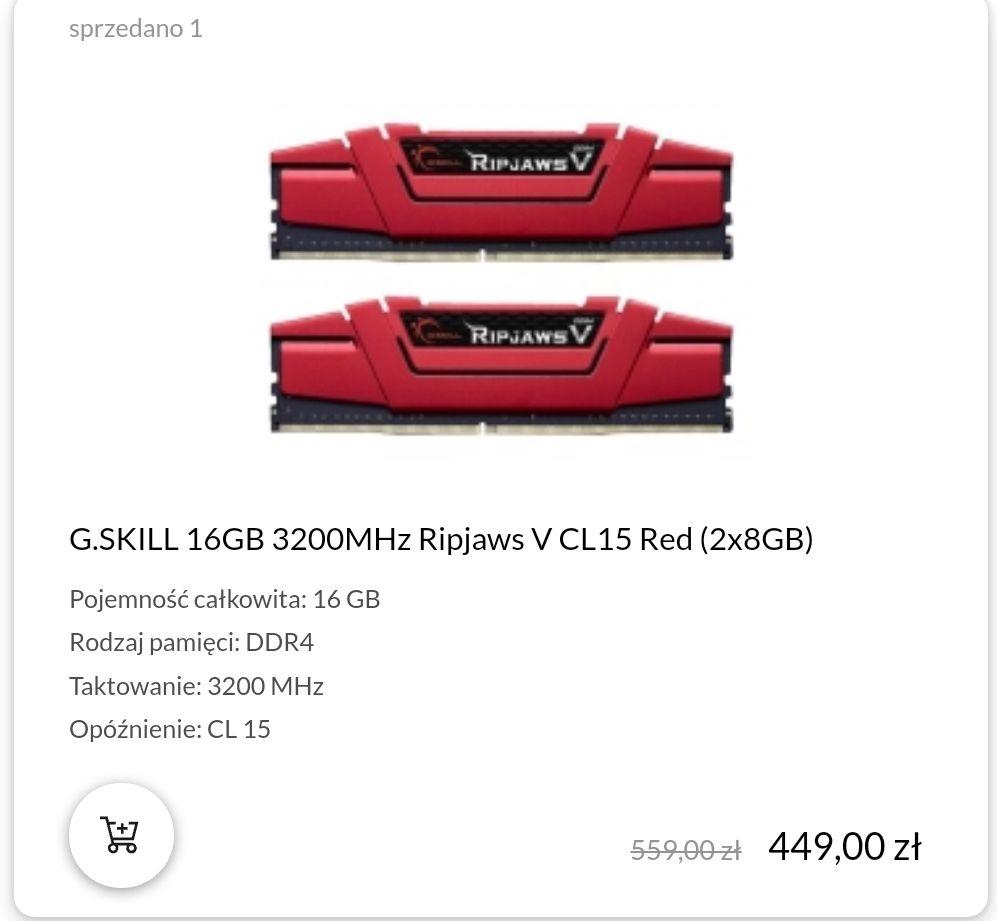 Pamięci RAM G.Skill 16GB 3200MHz (2x8) Ripjaws V CL15 RED