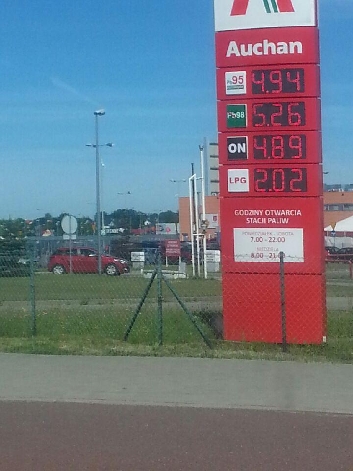 ON - 4.89, LPG - 2.02, Pb95 - 4.94 Auchan Gdańsk
