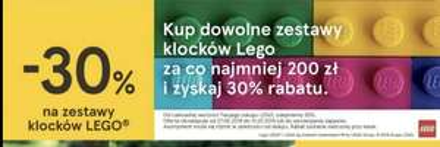 Dowolny zestaw klocków Lego min.200 zł 30%taniej Tesco