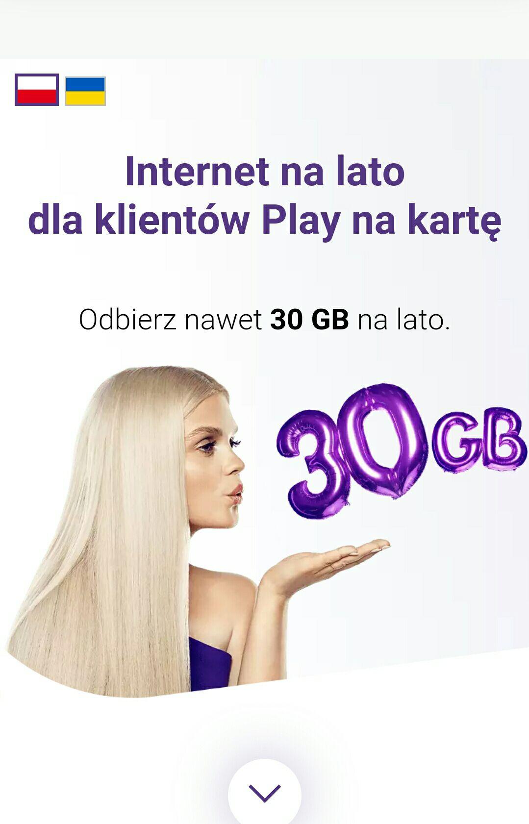 30 gb internetu na lato od Play