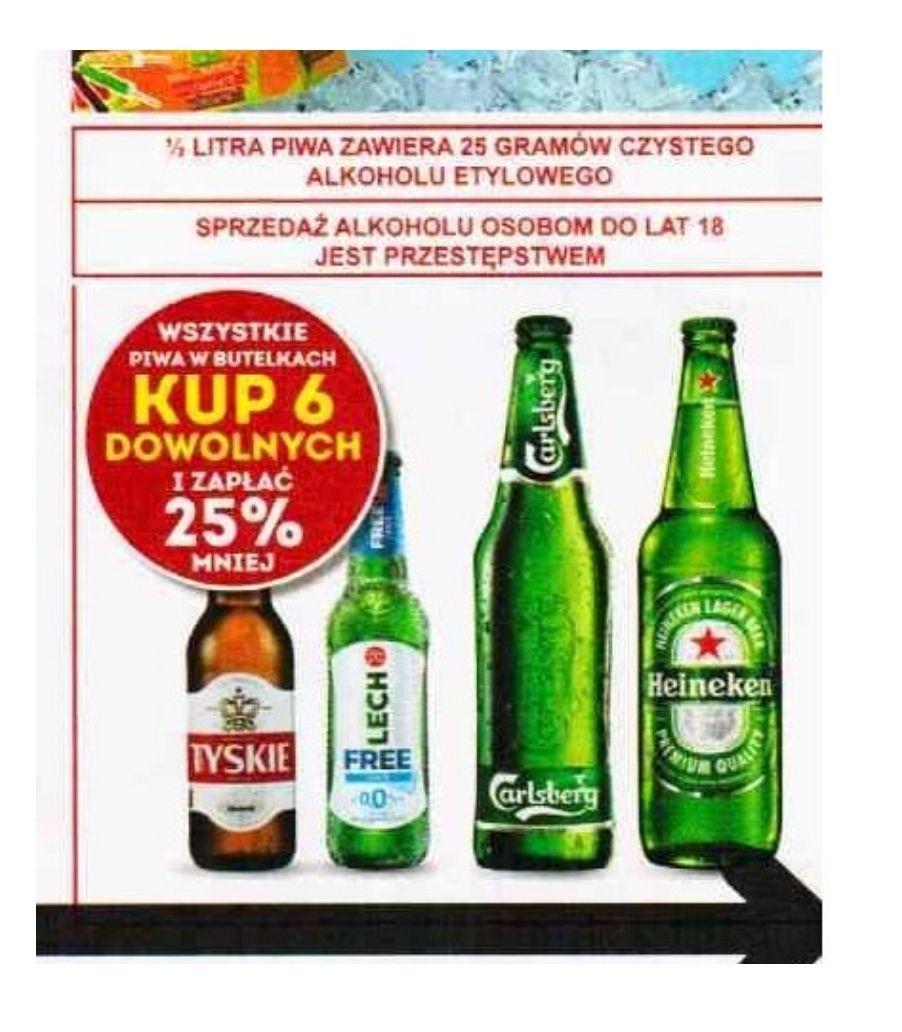 Kup 6 dowolnych piw w butelce i zapłać 25% mniej. Biedronka