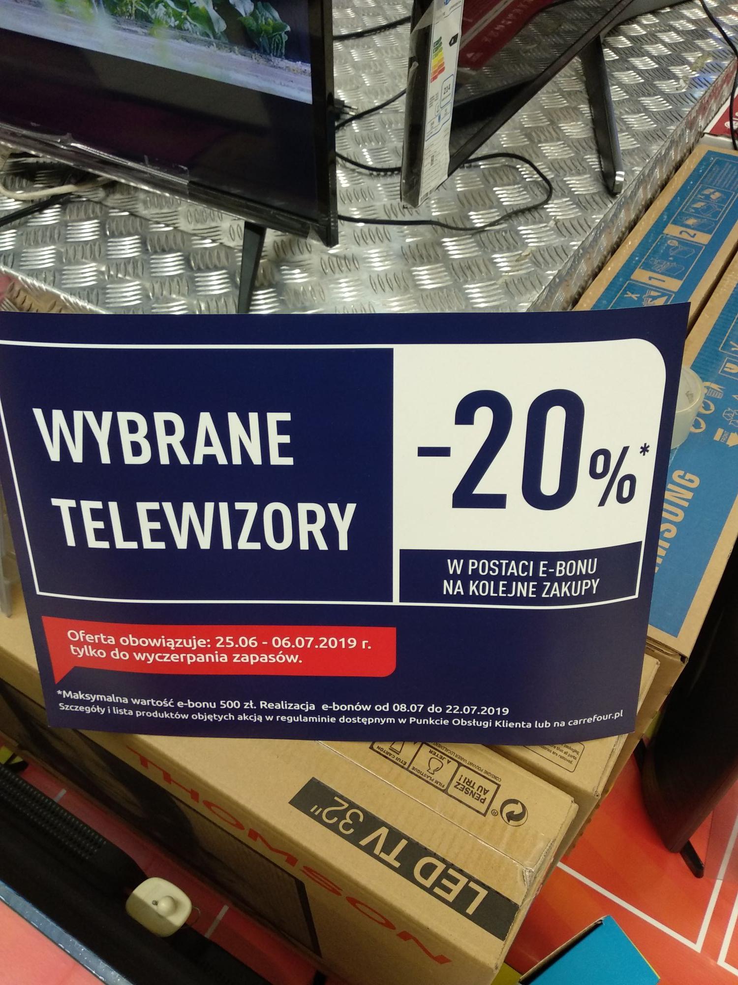 Carrefour większość TV -20% na e-bon