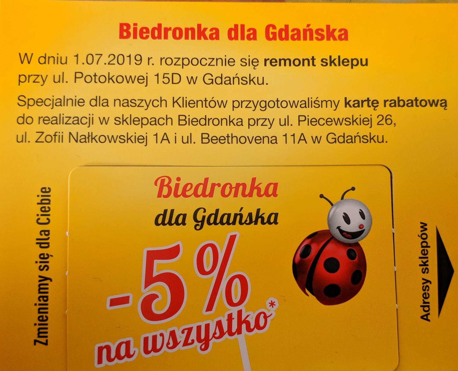 Gdańsk, Biedronka Rabat 5% na wszystko z wyłączeniem alkoholu, papierosów, doładowań do telefonów