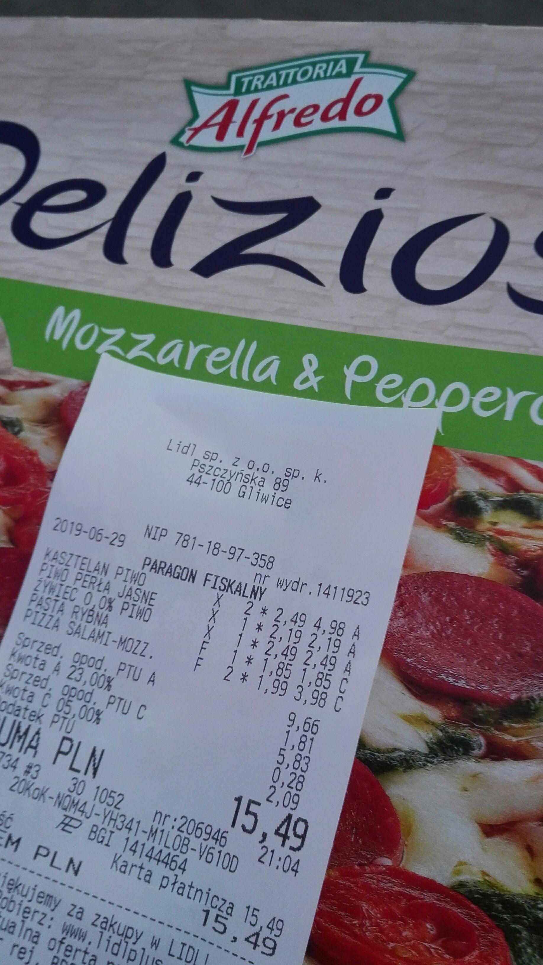 Pizza Deliziosa mozzarella & pepperoni - błąd cenowy Lidl Gliwice