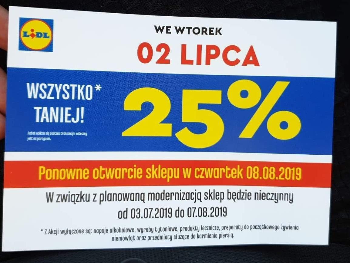 25% rabatu na (prawie) wszystko w Lidlu w Rzeszowie