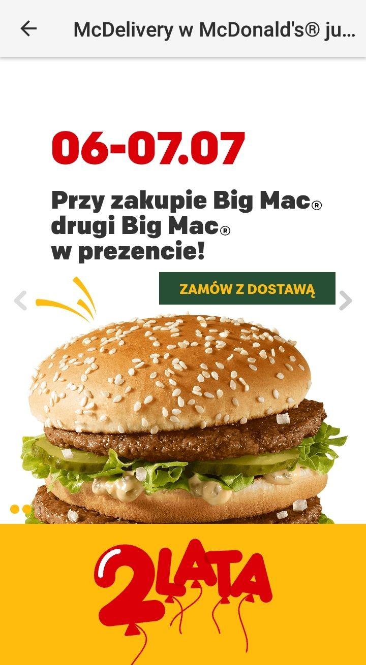 Drugi Big Mac gratis z McDelivery
