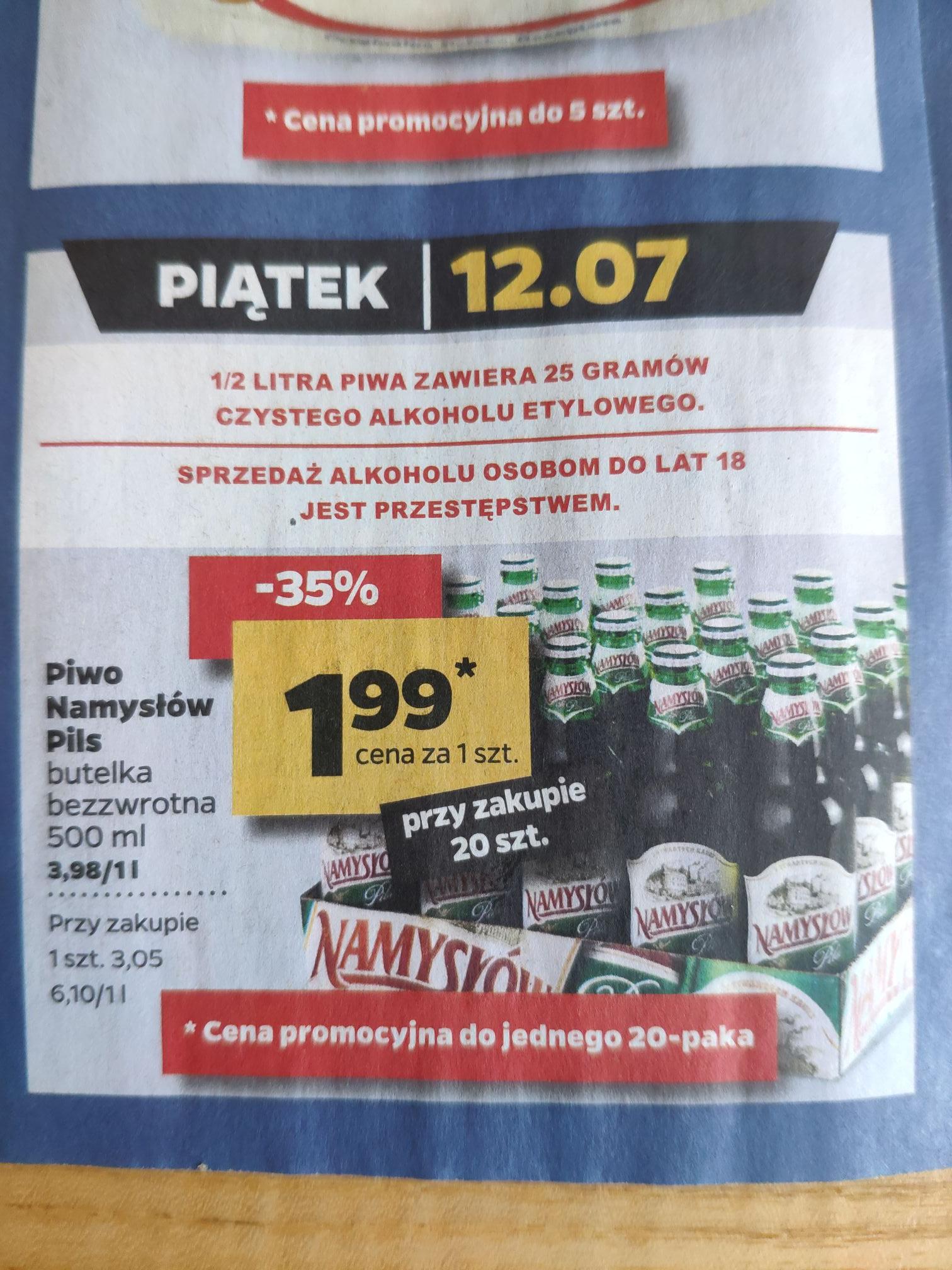 Piwo Namysłów Pils 1,99zł przy zakupie 20 szt. - Netto