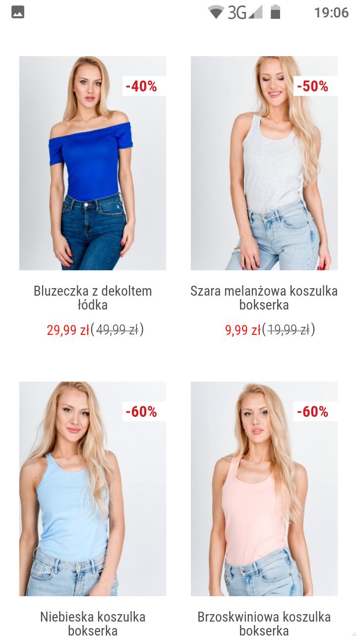 Koszulki damskie taniej do 70%