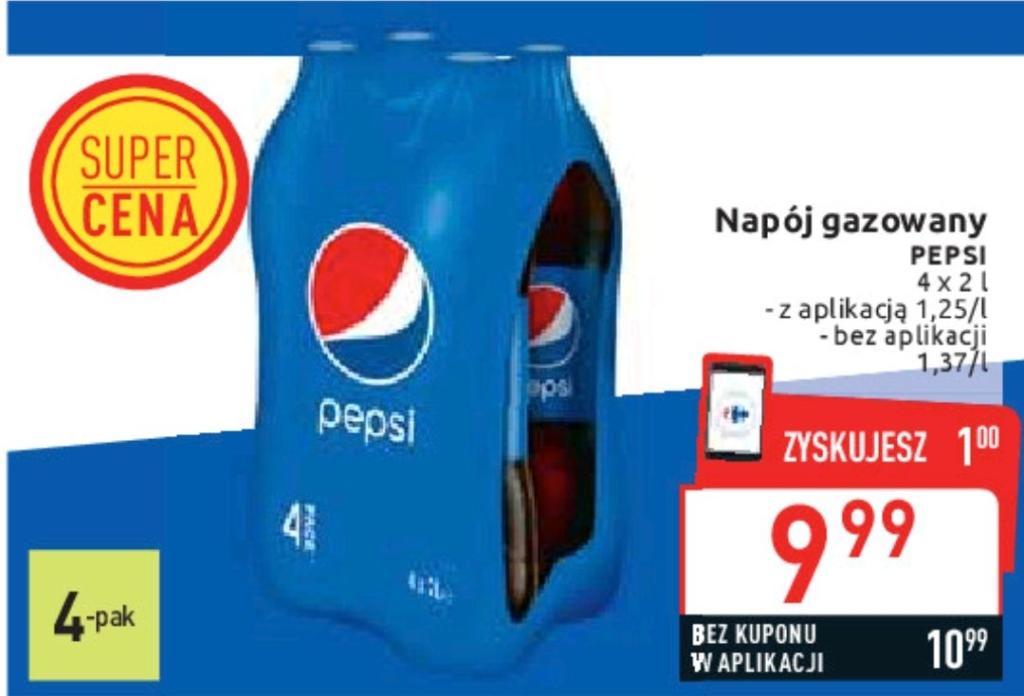 Pepsi   4 x 2L   1.25 zł / L   Carrefour