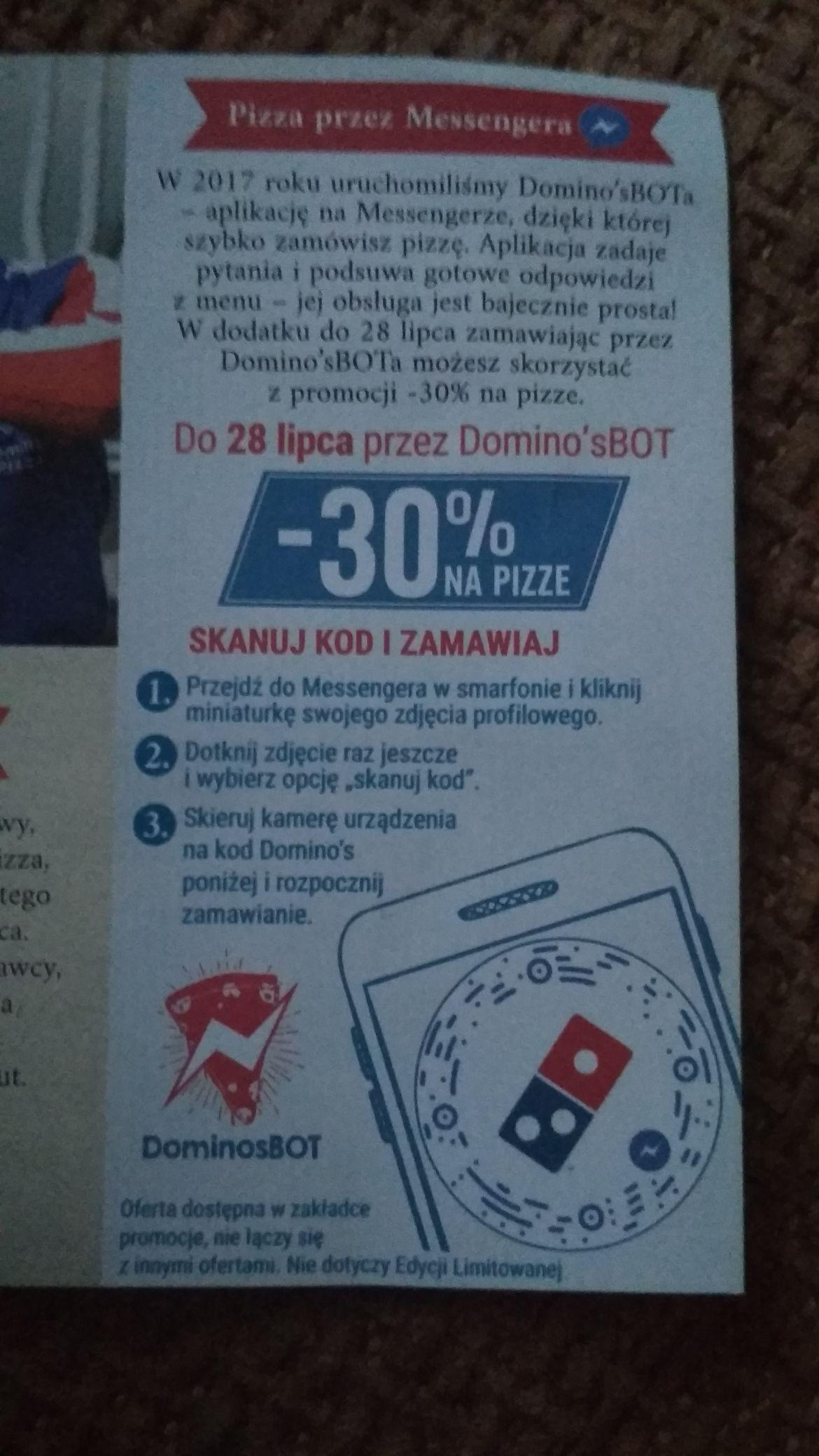 Domino's -30% przez Messenger