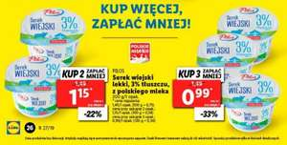 Serek Wiejski z Polskiego mleka w Lidlu przy zakupie 3 szt. 0.99zł /  sztuka
