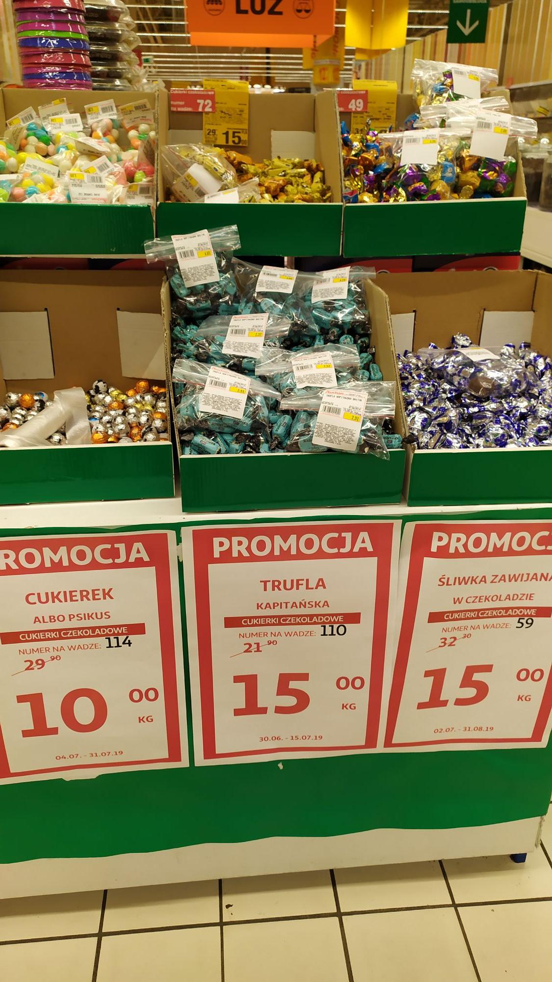 Śliwka zawijana w czekoladzie I inne na wagę Auchan Sosnowiec Zuzanny