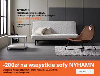 200zł rabatu na wszystkie sofy NYHAMN @ Ikea