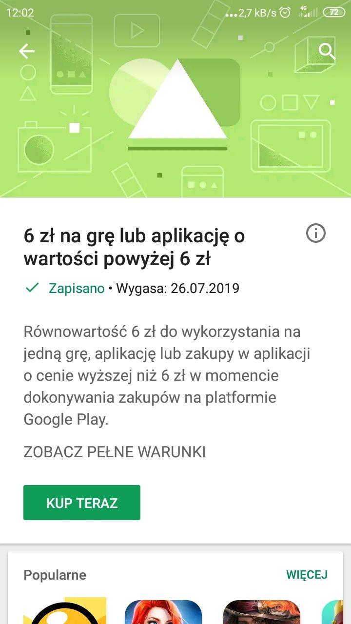 6 zł do wykorzystania w sklepie Google Play