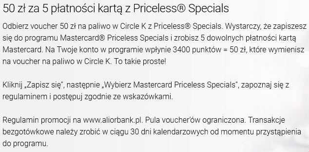 50 zł na paliwo w Circle K za 5 płatności kartą z Pricless Specials w Alior Bank