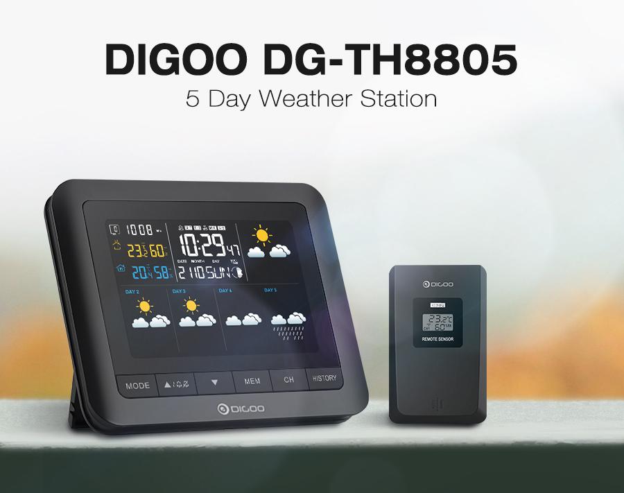 Stacja pogodowa Digoo DG-TH8805 z kolorowym LCD