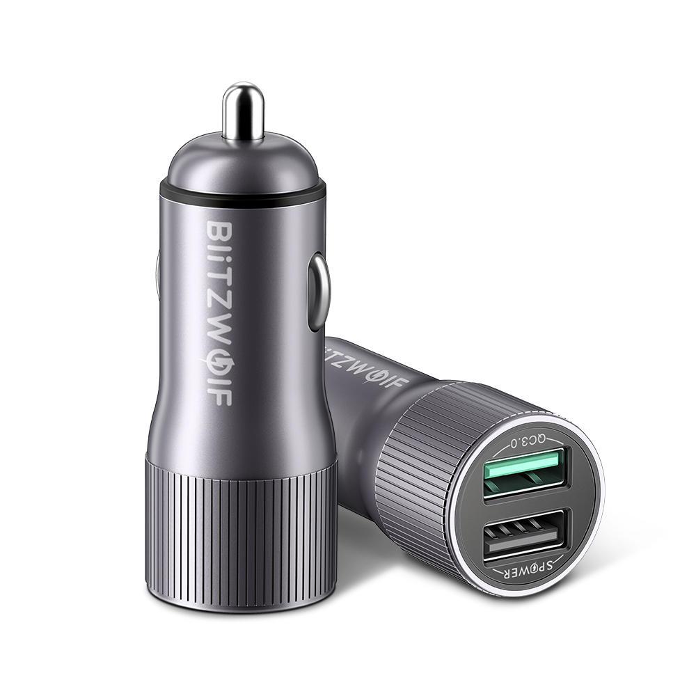 BlitzWolf® BW-SD2 30W QC3.0 2.4A Dual USB Ports Fast Car Charger